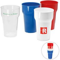 Plastikkrus med logo - stabelbare plastik drikkebæger med tryk