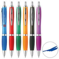 Kuglepenne med logo - stor skrivepatron - 6 flotte farver