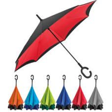 Paraply - med logo - med omvendt lukning