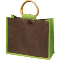 Jutepose  - med tryk - jutetasker med bambus bærehåndtag