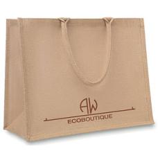 Jutepose - med  flotte korte bærehåndtag