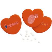 Mintpastiller - i flot hjertedispenser med logo