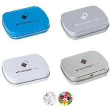 Mintpastiller eller chokoladelinser i metaldåser med logo