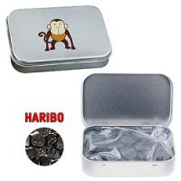 Pastildåser med logo - fyldt med HARIBO lakrids eller Vingummi