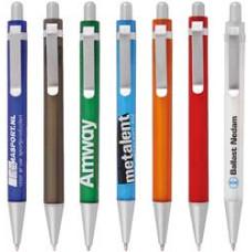Kuglepenne med metalslips  - 7 frostet farver