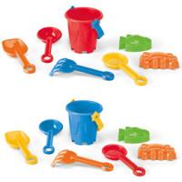 Strandspand med tryk på spanden - 6 stk. legetøj